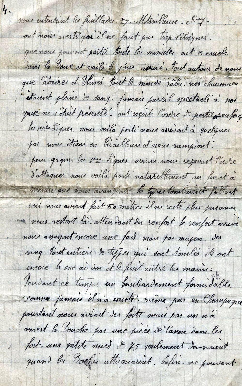 voici la lettre d'un poilu racontant la bataille de Verdun datée du 2 mars 1916